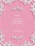 Vector la tarjeta rosada de la invitación del vintage 3d con el modelo floral del damasco Imágenes de archivo libres de regalías