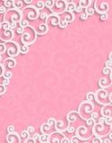 Vector la tarjeta rosada de la invitación del vintage 3d con floral Foto de archivo libre de regalías