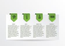 Vector la tarjeta verde del progreso con las marcas de la cinta del oro y Web simple Fotos de archivo