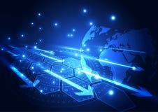 Vector la tecnología de comunicación global digital, fondo abstracto ilustración del vector