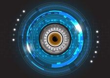 Vector la tecnologia futura del bulbo oculare, fondo di concetto di sicurezza Immagine Stock Libera da Diritti