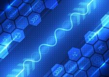 Vector la tecnologia futura di ingegneria astratta, fondo delle Telecomunicazioni Fotografia Stock