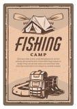 Vector la tenda del pescatore, gli stivali ed il manifesto dell'annata della barca illustrazione vettoriale