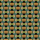 Vector la textura abstracta de diversas formas geométricas de marrón, rojo, azul, amarillo en un fondo negro Fotos de archivo