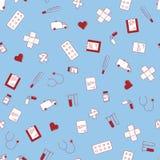 Vector la textura inconsútil con los iconos médicos planos lindos imprimible Foto de archivo libre de regalías