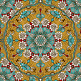 Vector la textura inconsútil con la mandala floral en estilo indio Fondo del ornamental de Mehndi Imagen de archivo