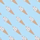 Vector la textura sin fin inconsútil con helado dibujado mano del bosquejo Imagenes de archivo