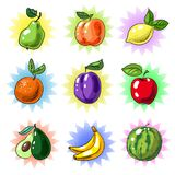 Vector la toppa d'annata della frutta di Pop art o l'insieme dell'autoadesivo Immagini Stock