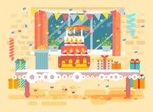 Vector la torta festiva enorme del ejemplo con las velas en la tabla, confeti, celebre el feliz cumpleaños, felicitando, regalos stock de ilustración