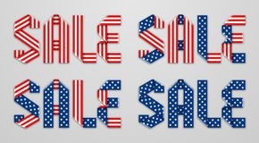 Vector la vendita di parola fatta con il nastro piegato delle stelle della bandiera americana Immagini Stock
