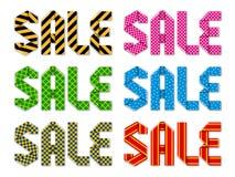 Vector la vendita di parola fatta dei nastri piegati con 6 tipi differenti di decorazioni illustrazione vettoriale