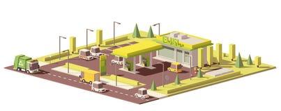 Vector laag polybenzinestation royalty-vrije illustratie
