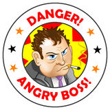 Vector Label Angry Boss!. Funny vector illustration for sticker design stock illustration