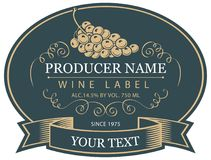 Vector label for wine with bunch of grapes. Vector label for bottle of wine with bunch of grapes in the oval frame with tape in a retro style Royalty Free Stock Photos