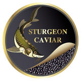 Vector label for caviar sturgeon. Round  label for sturgeon ROE Stock Photography