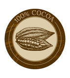 Vector label with cocoa beans Royalty Free Stock Photos
