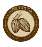 Vector label with cocoa beans Royalty Free Stock Images