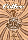 Vector label for coffee on sacking. Vector label for coffee on background with sacking Royalty Free Stock Photos