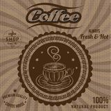 Vector label for coffee on sacking. Vector label for coffee on background with sacking Stock Photo