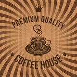 Vector label for coffee on sacking. Vector label for coffee on background with sacking Stock Photography
