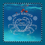 Vector  label with crab silhouette, nautical accessory and words Stock Images