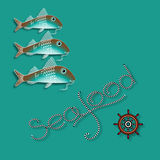 Vector  label with  fish, nautical accessory and word  Seafood. Vector  label with  fish, nautical accessory and word  Seafood on aquamarine background Royalty Free Stock Photos