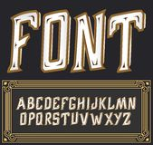 Vector label font with art deco ornament. Tower  on dark background Royalty Free Stock Photo