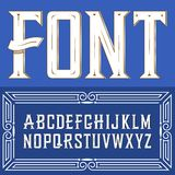Vector label font with ornament. Blue. Vector label font with art deco ornament Stock Illustration