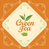 Label for green tea with sprig of tea and teapot. Vector label for green tea decorated with a sprig of tea and teapot in curly frame with swirls on orange Royalty Free Stock Images