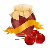 Vector label with a jar of cherry jam and a ribbon Stock Images