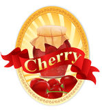 Vector label with a jar of cherry jam and a ribbon Royalty Free Stock Photography