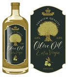 Vector label for olive oil with an olive sprig stock illustration