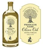 Vector label for olive oil with an olive tree stock illustration