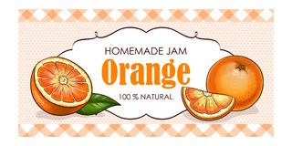 Vector label of orange with watercolor background and colored border. Food label Royalty Free Stock Photos