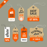 Vector label paper brown and orange concept Royalty Free Stock Photo