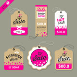 Vector label paper brown and pink concept Stock Photos