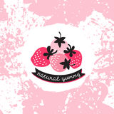 Vector label with pink and red strawberry on the splashes background. Royalty Free Stock Photography