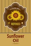 Vector label for refined sunflower oil with sunflower Stock Photo