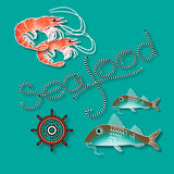 Vector label with shrimp, fish, nautical accessory and word Seafood. Vector  label with  shrimp, fish, nautical accessory and word  Seafood on aquamarine Royalty Free Stock Photos
