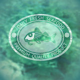 Vector  label with silhouette fish and words Daily Fresh Seafood. On marine background Royalty Free Stock Images