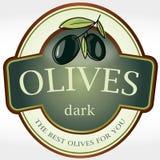 Vector label sticker olives dark Stock Images