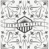 Vector label with swirls and flowers elements Royalty Free Stock Photos