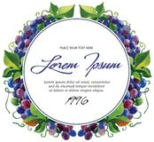 Vector label template wine grape branches with Royalty Free Stock Image