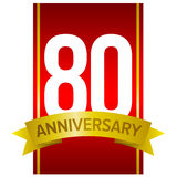 Vector label for 80th anniversary celebration. White digits 80 on red background. With yellow ribbon and word `Anniversary`. Vector label for celebration. Eighty Royalty Free Stock Images