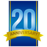 Vector label for 20th anniversary. With large digits on blue background with golden stripes. Decorative design elements for twenty years celebration Royalty Free Stock Image