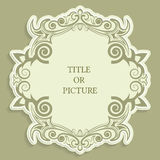 Vector label, vintage frame for an inscription, calligraphic ornament, template to cut paper , 3D effect Royalty Free Stock Images