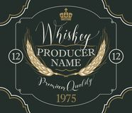 Label for whiskey with ears of barley. Vector label for whiskey in the figured frame with crown, ears of barley and handwritten inscription on black background Stock Photo