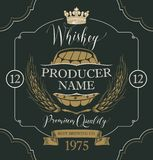 Label for whiskey with ears of barley and barrel. Vector label for whiskey in the figured frame with crown, ears of barley, wooden barrel and handwritten Stock Photography