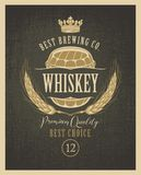 Label for whiskey with ears of barley and barrel royalty free illustration