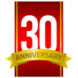 Vector label for 30 years celebration. Thirty anniversary sign. White digits on red vertical stripe and gold letters at the bottom Stock Image